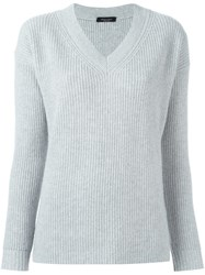 Roberto Collina V Neck Sweater Grey