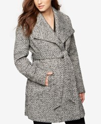 A Pea In The Pod Maternity Belted Shawl Collar Coat Black