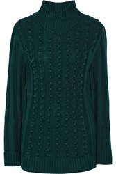 Opening Ceremony Ribbed Knit Wool Blend Turtleneck Sweater Green