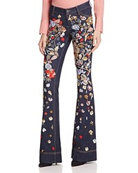 Alice Olivia Ryley Embroidered Low Rise Jeans Dark Indigo Multi