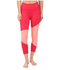 Puma Mesh Clash Tights Rose Red Fluro Peach Silver Women's Casual Pants