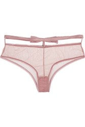Fleur Du Mal Playboy Bow Embellished Stretch Tulle Briefs