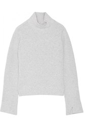Proenza Schouler Ribbed Wool And Cashmere Blend Turtleneck Sweater Light Gray