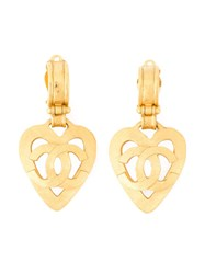 Chanel Vintage Heart Logo Pendant Earrings Metallic