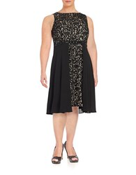 London Times Plus Lace Fit And Flare Dress Black Nude