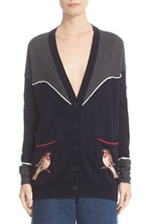 Stella Mccartney Women's Nashville Applique And Piped Detail Colorblock Wool Cardigan