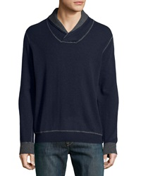 Neiman Marcus Contrast Trim Cashmere Pullover Sweater Navy