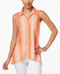Ny Collection Printed Button Front Swing Blouse Tango Orange Swirl