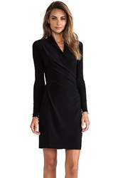 Norma Kamali Kamalikulture Long Sleeve Side Draped Dress Black