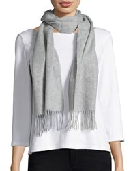 Lord And Taylor Fringed Cashmere Scarf Grey