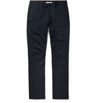 Acne Studios Max Satin Slim Fit Cotton Blend Twill Trousers Blue