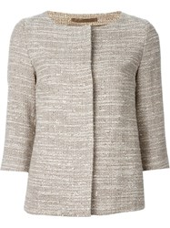 Herno Cropped Tweed Jacket Nude And Neutrals