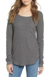Obey Women's Throwback Thermal Tee Dusty Dark Grey