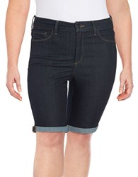 Nydj Plus Briella Denim Bermuda Shorts Blue