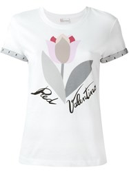 Red Valentino Sleeve Detail Flower T Shirt White