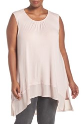 Melissa Mccarthy Seven7 Plus Size Women's Rib Knit High Low Tank Rose Smoke