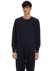 Les Basics Reverse Side Loopback Fleeced Crew Neck Sweater Navy