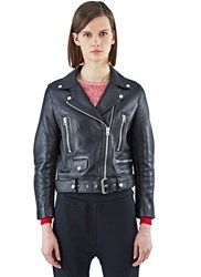 Acne Studios Mock Motorcycle Leather Jacket Black