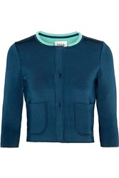 Issa Mills Cropped Stretch Knit Cardigan Blue