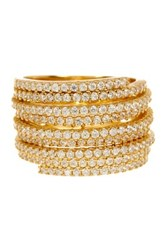 18K Yellow Gold Plated Sterling Silver Cz Multi Lined Ring