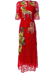 Dolce And Gabbana Embellished Lace Gown Red