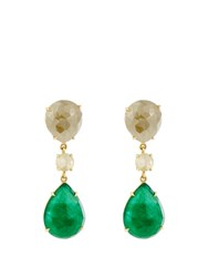 Nsr Nina Runsdorf Diamond Emerald And Yellow Gold Earrings Yellow Gold