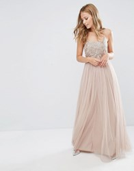 Maya Cami Strap Maxi Dress With Tulle Skirt And Embellishment Mink Brown
