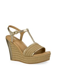 Ugg Fitchie Metallic Espadrille Leather Sandals Gold