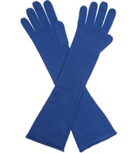 Cash Ca Long Cashmere Gloves Cobalt