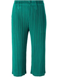 Issey Miyake Pleats Please By Light Flare Cropped Trousers Green