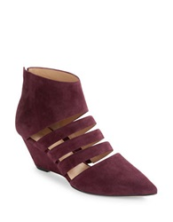 Belle By Sigerson Morrison Wilma Suede Wedges Dark Red