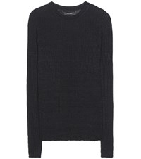 Isabel Marant Dayton Linen And Wool Blend Knitted Sweater Black