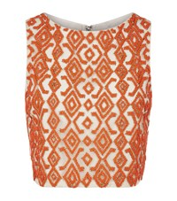 Alice Olivia Pire Embellished Crop Top Female Orange