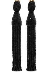 Oscar De La Renta Gold Tone Beaded Clip Earrings Black
