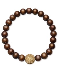 Macy's Chocolate Cultured Freshwater Pearl 8 9Mm And Golden Yellow Crystal Bead Bracelet White