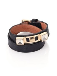 Proenza Schouler Ps11 Linosa Leather Double Wrap Bracelet Black Gold