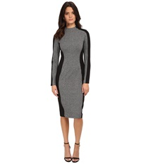 Maggy London Knit Long Sleeve Sheath With Black Contour Detail Grey Women's Dress Gray