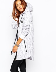Criminal Damage Longline Zip Front Hoodie With All Over Print White