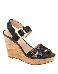 Arturo Chiang Pameila Vachetta Leather Wedge Sandals Black