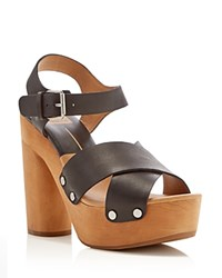 Dolce Vita Tildah Wood Platform High Heel Sandals Black