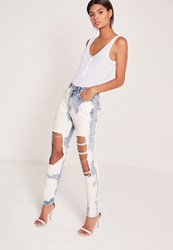 Missguided Extreme Bleached Mom Jeans Blue Blue