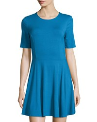 Three Dots Half Sleeve Crewneck Skater Dress Crown Blue