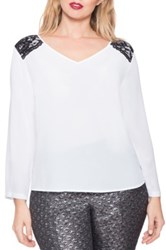 Eloquii Lace Trim V Neck Blouse Plus Size White