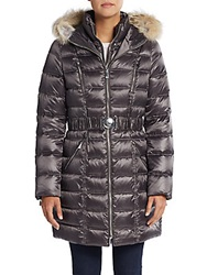 Dawn Levy Alicia Fur Trimmed Down Puffer Coat Gunmetal