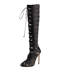 Francesco Russo Lace Up Gladiator Knee Boot
