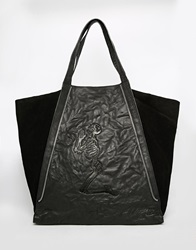 Religion Leather Oversized Slouchy Tote Bag Black