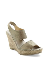 Andre Assous Reese Suede Platform Wedge Sandals Pewter