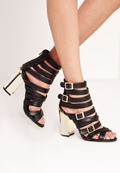 Missguided Gold Block Heel Strappy Sandals Black Black