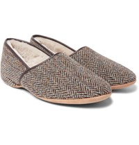 Derek Rose Crawford Shearling Lined Harris Tweed Slippers Brown
