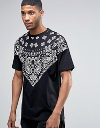 Asos Oversized Longline T Shirt With Bandana Yoke In Black Black